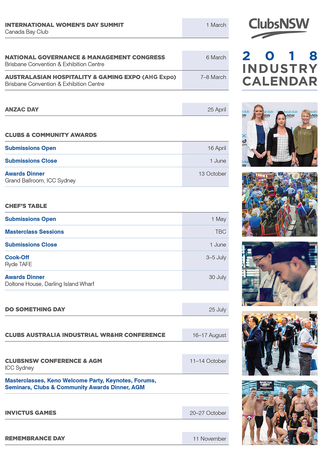 2018 Industry Calendar